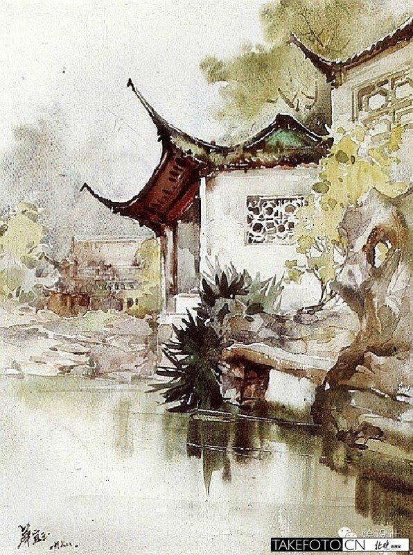 华宜玉:中国顶级女建筑学教授的水彩画(上)图片