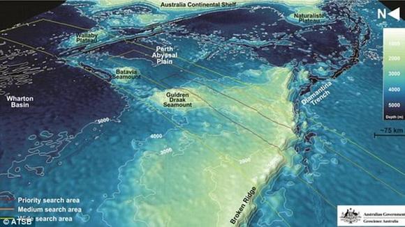澳大利亚公布最新马航mh370海底搜索区域地形图