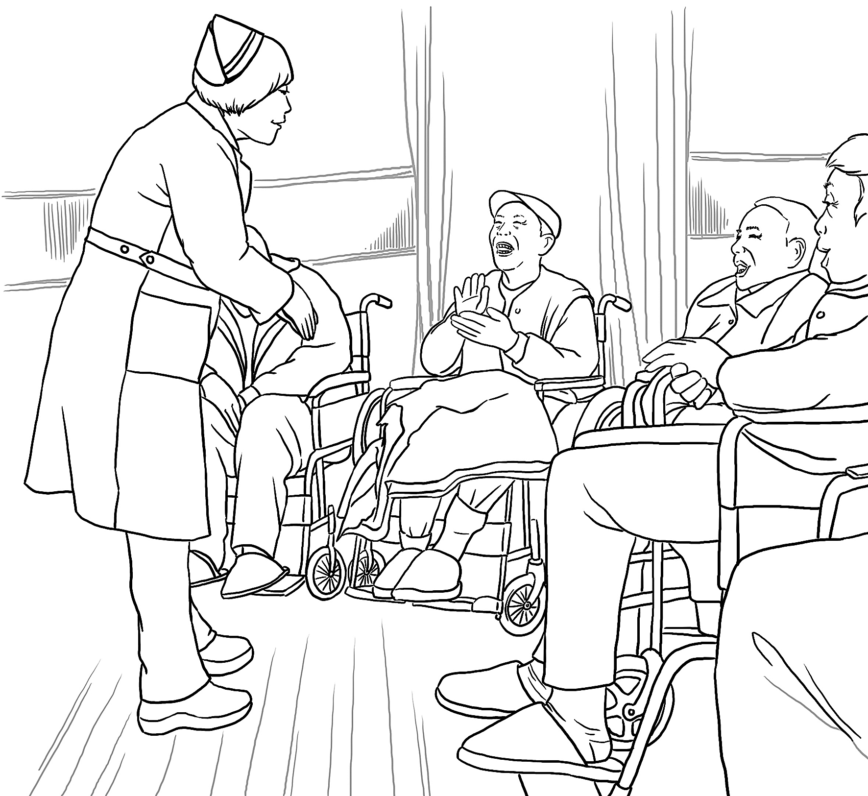 """""""东方红太阳升,中国出了个毛泽东……""""在护士鼓励下,74岁的"""