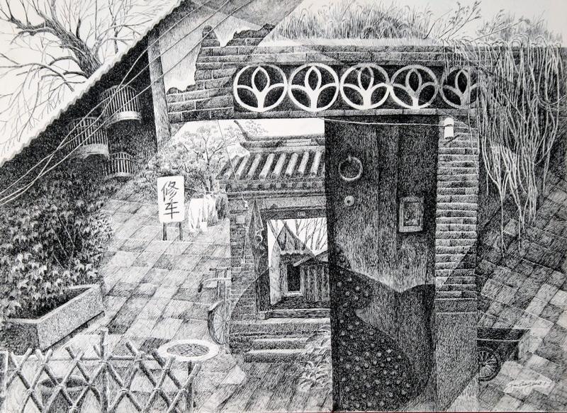 木头凳子写实素描