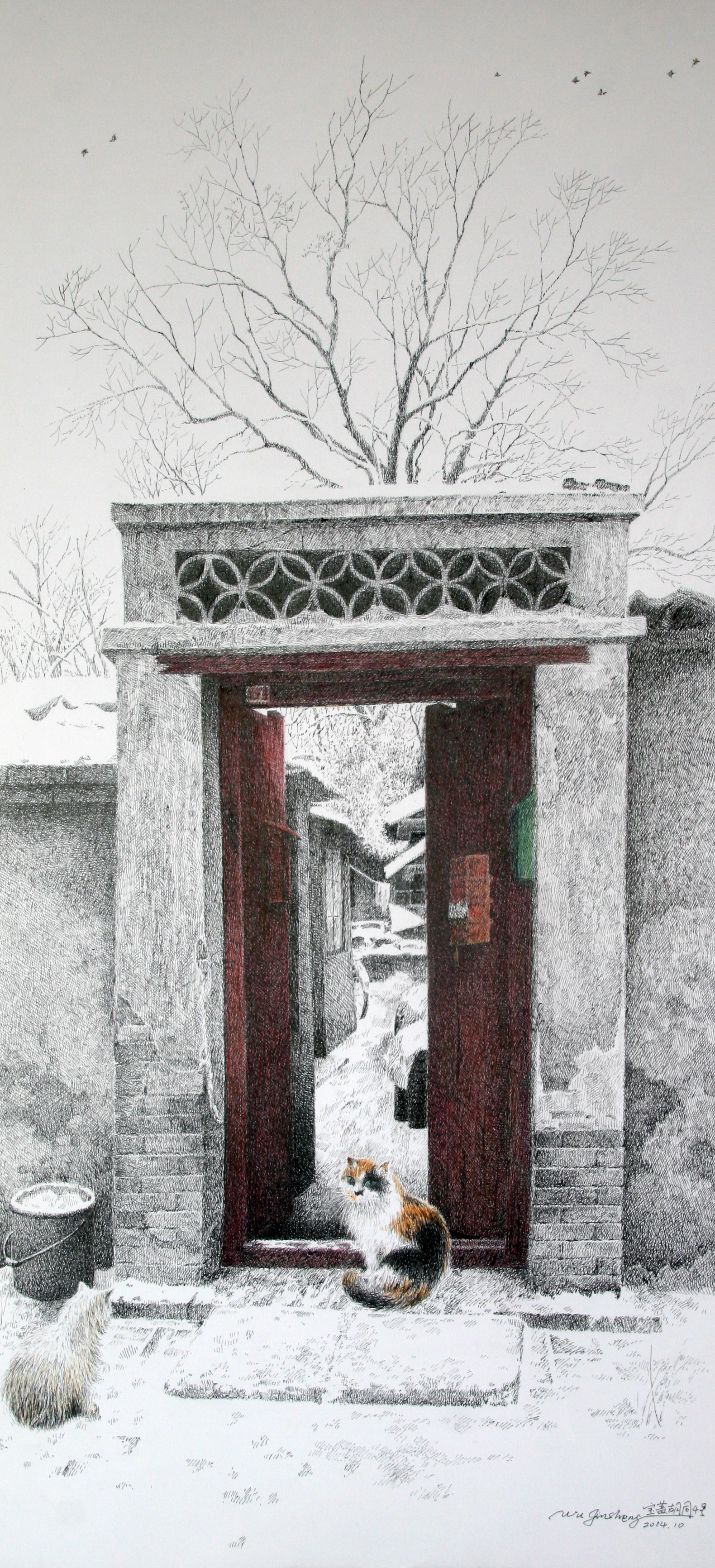 钢笔画就的老北京胡同引关注 夫妻俩非专业画家出身(图)