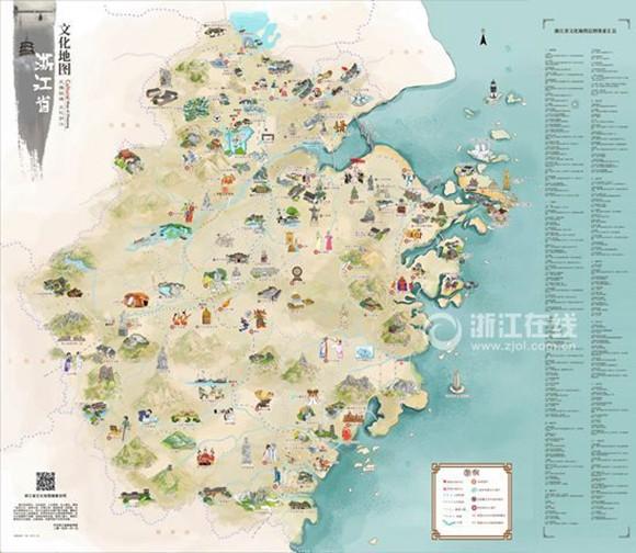 手绘浙江文化地图耗时1年完成 王羲之挥墨兰亭活灵活现