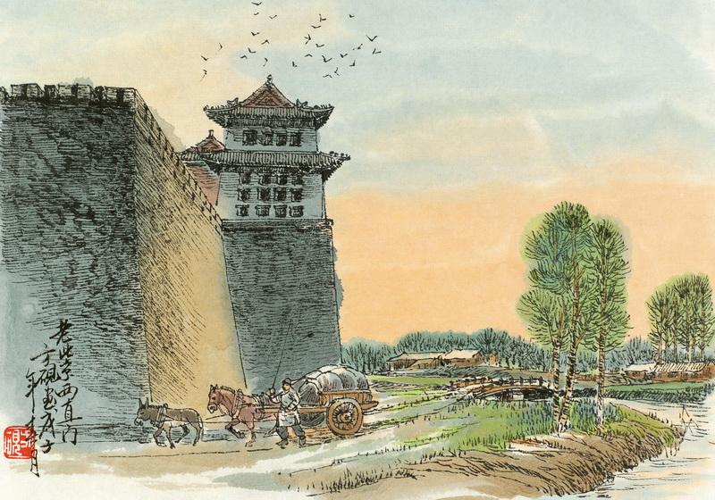 明画古镇油画风景图片