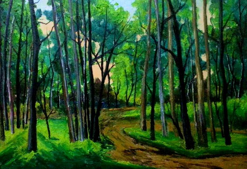 写生树林房子色彩风景