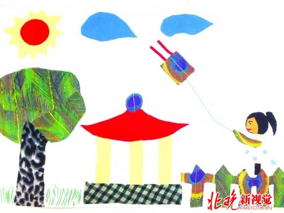 布贴画《放飞春天》 刘星纬 (8岁) 灯市口小学二年级(6)班