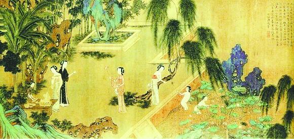 四季彩彩平�_明仇英所绘的《四季仕女图之夏图》(局部)