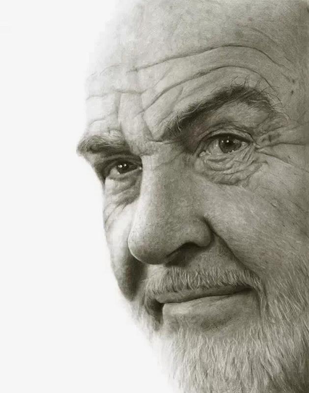 超写实明星黑白素描肖像