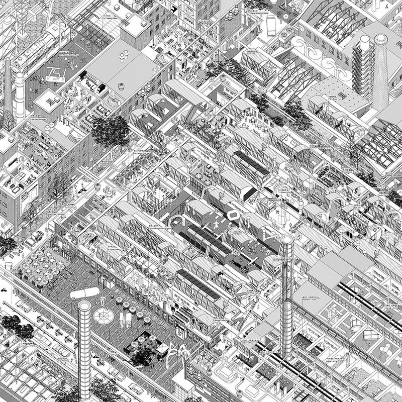 北京798手绘剖面图