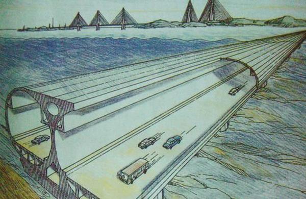 示意图 烟台到大连的海底隧道是指烟台蓬莱至旅顺之间的海底隧道,归属铁路总公司管理,整条隧道全长123公里,火车设计时速为250公里,运行速度能达到220公里/小时,届时从烟台到大连最多只需要40分钟。 据了解,工程方案将采纳全海底隧道方案,以火车载运汽车通行,南北两端的接驳点、工程规模也已确定。