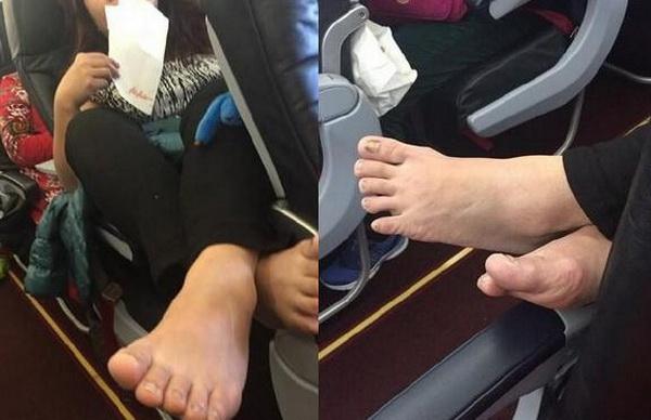 视频截图 据悉,事件发生在亚航FD588曼谷飞往西安的航班上,飞机上一大妈不但将鞋子彻底脱掉,还肆无忌惮的将双脚完全搭在前排乘客的扶手上,这一举动持续了数小时,恶心至极。 最后,呼唤空姐制止这种行为遭到拒绝,空姐说她们对这种行为也感到无奈,但是无法制止,因为该乘客是中国人。估计是被之前泼泡面的中国乘客吓怕了吧,真是善哉善哉。 亚航客服称,系乘客私人行为,个人素质问题。空姐没制止可能是因为没有危害到航班安全。 航班频频出现国人这么无耻的行为,真是感到无奈,上次是泼泡面事件,这次就脱鞋数小时,下次还会是什么