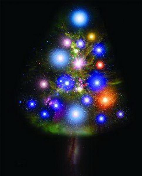 中国国家天文杂志用星云星系恒星拼成圣诞树 图