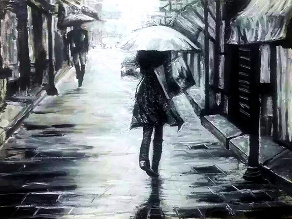 油画浪漫雨中风景