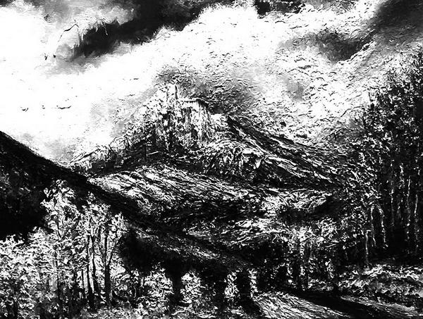 田迎人黑白油画《勃朗峰》