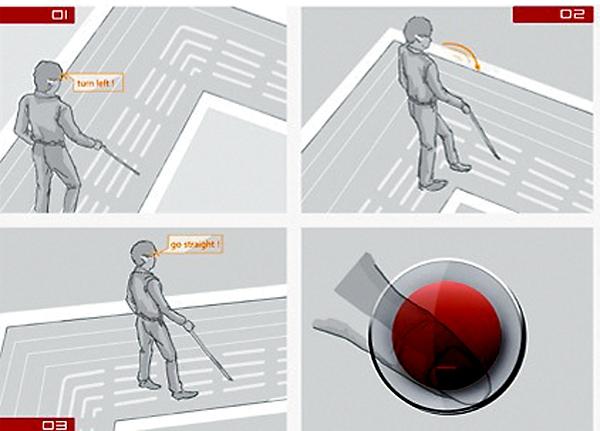 从导盲犬乔乔看未来科技 电子智能拐杖感应手镯盲人眼镜