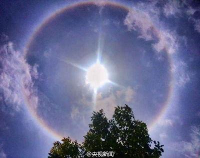 汉中罕见日晕景象 北京傍晚