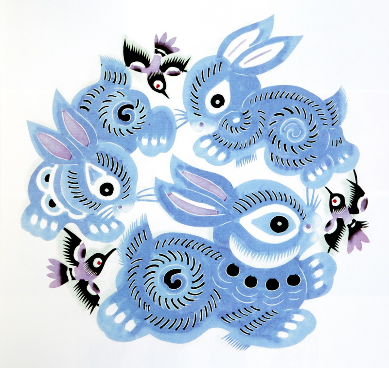 十二生肖之卯兔追梦(单色剪纸)图片