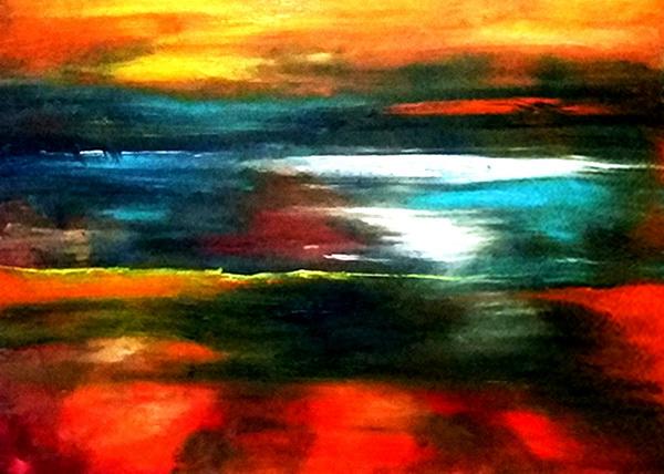 田迎人抽象油画《生命的秋天》_调整大小