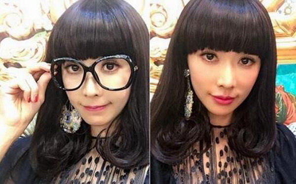 林志玲大玩变装,以黑框眼镜齐刘海造型登场