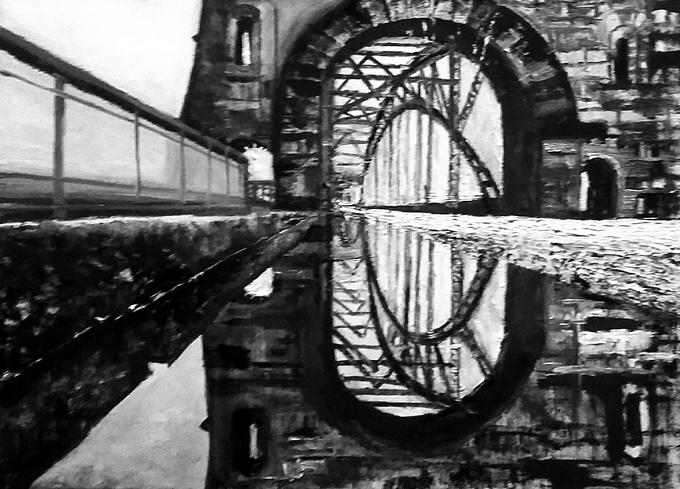 田迎人黑白油画《伦敦塔桥的幻影》