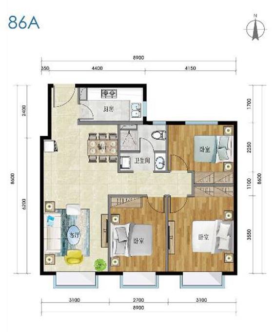 以91平方米的房子为例,4种不同的布局,有的卧室朝东,有的卧室朝北.