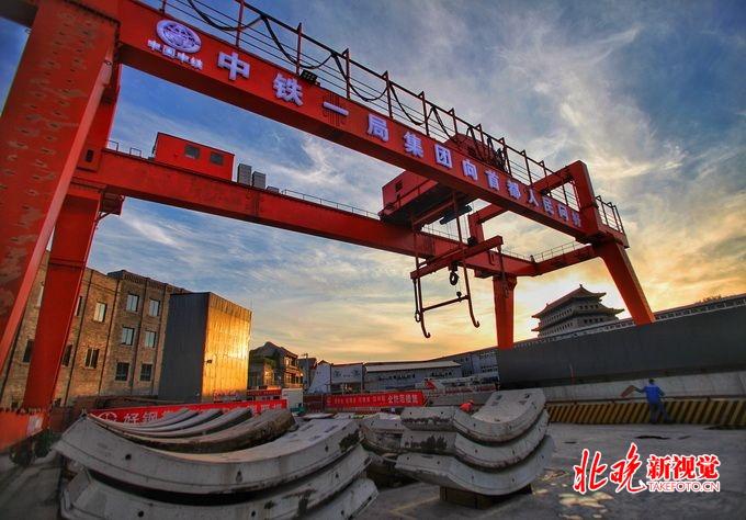 北京/中铁一局前门站工地现场。