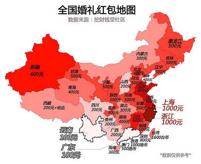 婚礼红包地图出炉:华东华北地区规格普遍更高 广东人表示不服图片
