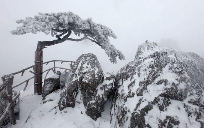 """安徽黄山节前降雪: """"五绝""""之一历来受游客尤其是摄影家青睐"""