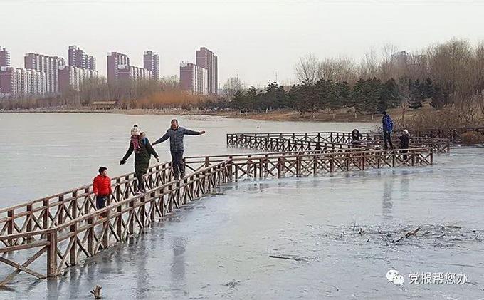 """北京昌平新城滨河森林公园成""""冰河世界"""" 苦了树木和建筑"""