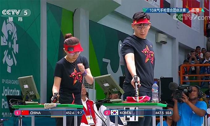 中国夺亚运会第二金!吴嘉宇纪晓晶射击10米气手枪力压韩国队(原创)