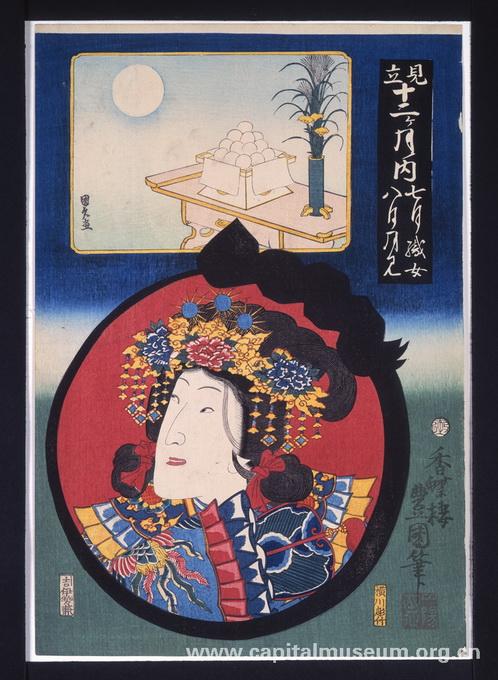 而在日本,除了八月十五的中秋节赏月以外,在九月十三日也是惯俗的赏月图片