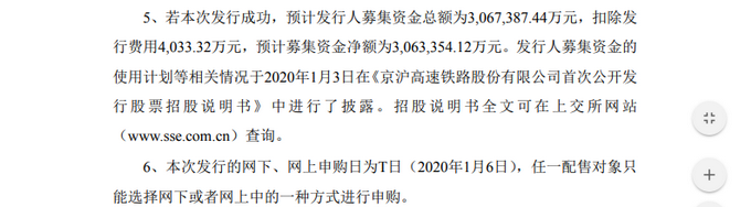 京沪高铁发行价4.88元/股 市值为1996.21亿元