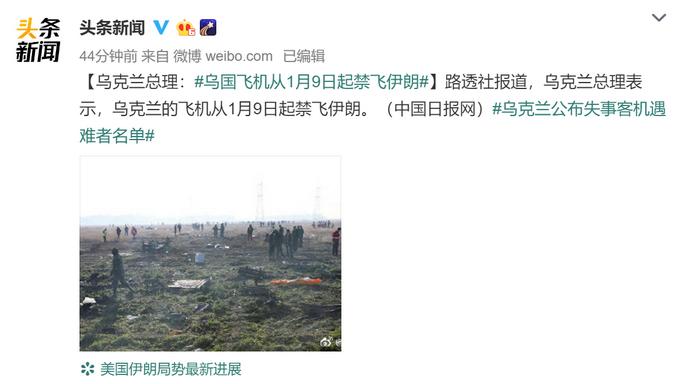 乌克兰客机坠毁后,乌克兰总理:乌国飞机从1月9日起禁飞伊朗