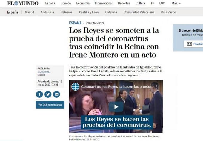 西班牙疫情最新消息:国王王后接受新冠病毒检测 结果将公开发布