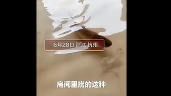南方多地连续强降雨,杭州千岛湖一家人在房间里抓鱼,房主:真湖景房!